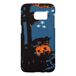 Pumpkin Jack O' Lantern Cat Orange Black Samsung Galaxy S7 Case