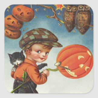 Pumpkin Jack O Lantern Cat Owl Boy Square Sticker
