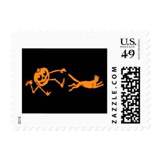 Pumpkin Jack O' Lantern Chasing Cat Orange Black Postage