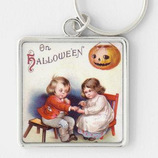 Pumpkin Jack O Lantern Children Silver-Colored Square Keychain