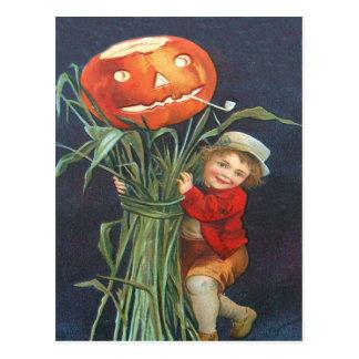 Pumpkin Jack O Lantern Cornstalk Boy Postcard