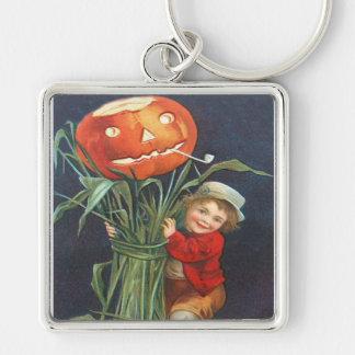 Pumpkin Jack O Lantern Cornstalk Boy Silver-Colored Square Keychain