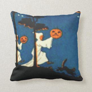 Pumpkin Jack O Lantern Ghost Black Cat Throw Pillow