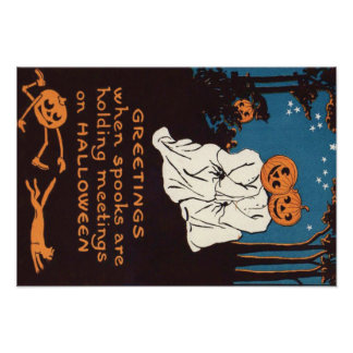Pumpkin Jack O' Lantern Ghost Black Cat Tree Poster