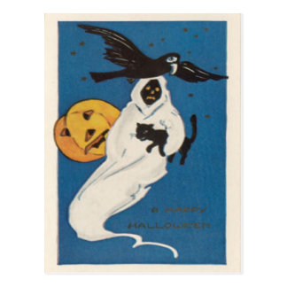 Pumpkin Jack O Lantern Ghost Crow Black Cat Postcard