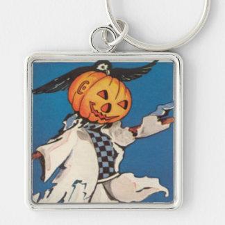 Pumpkin Jack O Lantern Scarecrow Crow Silver-Colored Square Keychain