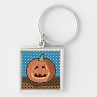 Pumpkin Jack-O'-Lantern Silver-Colored Square Keychain