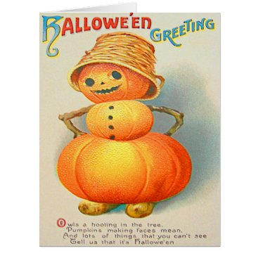 Halloween Themed Pumpkin Jack O' Lantern Snowman Card