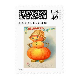 Pumpkin Jack O' Lantern Snowman Postage at Zazzle