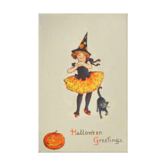 Pumpkin Jack O Lantern Witch Black Cat Canvas Print