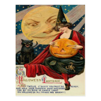 Pumpkin Jack O Lantern Witch Black Cat Postcard