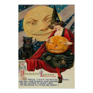 Pumpkin Jack O Lantern Witch Black Cat Poster