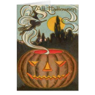 Pumpkin Jack O Lantern Witch Full Moon Card