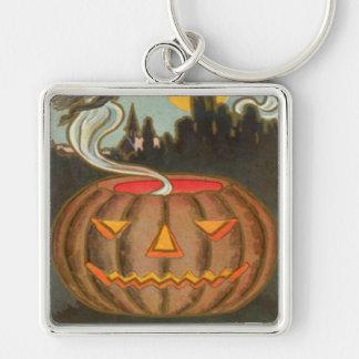 Pumpkin Jack O Lantern Witch Full Moon Keychain