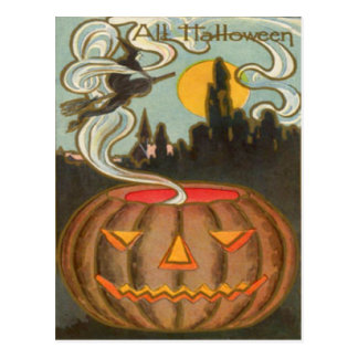 Pumpkin Jack O Lantern Witch Full Moon Post Cards