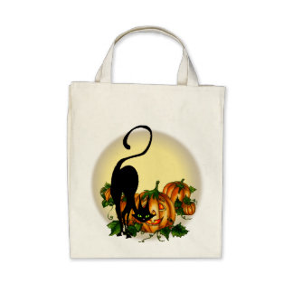 PUMPKIN JACKS, CAT & MOON by SHARON SHARPE Tote Bags