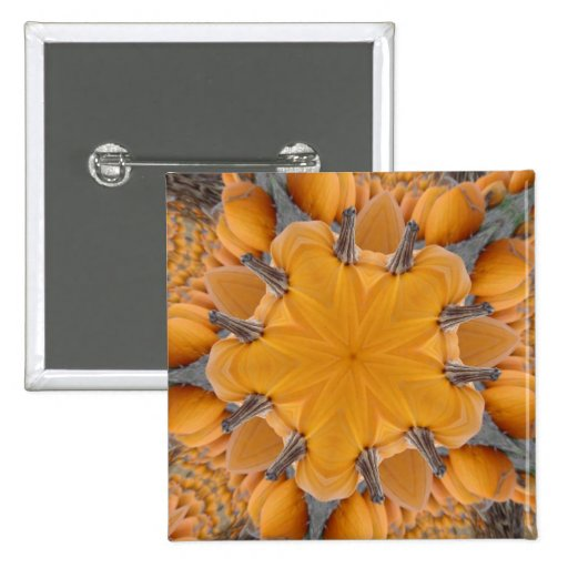 Pumpkin Kaleidoscope 2 Inch Square Button