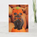 """Pumpkin Kitten Halloween Card<br><div class=""""desc"""">Halloween card featuring a funny kitten wearing a pumpkin mask.</div>"""