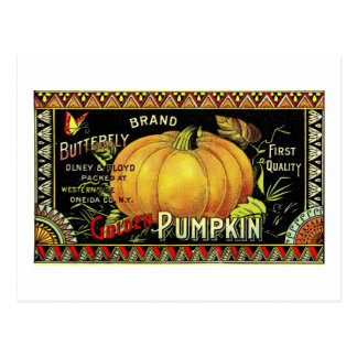 pumpkin label postcard