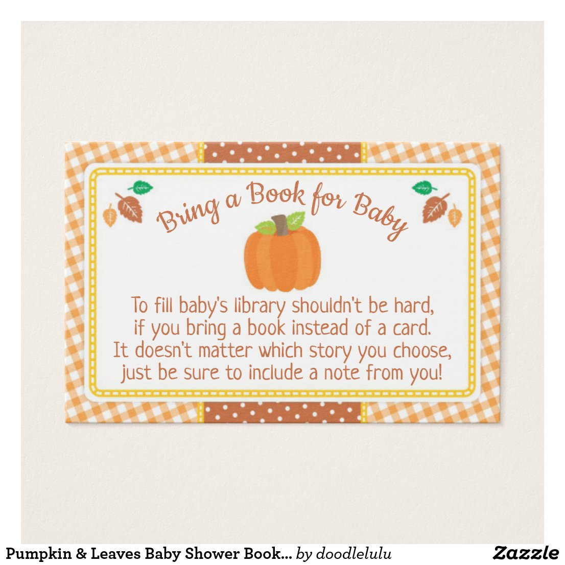 Pumpkin & Leaves Baby Shower Book Request Card