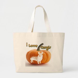 Pumpkin Love Corgis-D smile Canvas Bags