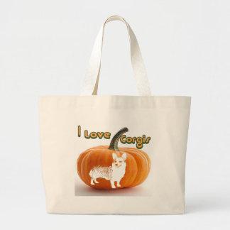 Pumpkin Love Corgis-D smile Large Tote Bag