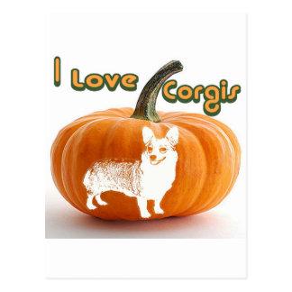 Pumpkin Love Corgis-D smile Postcard