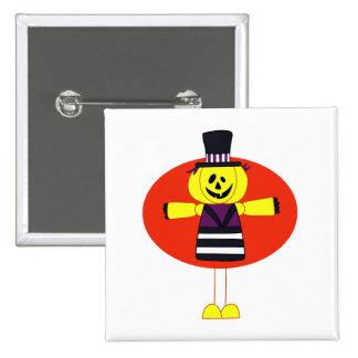 Pumpkin man cartoon orange behind pinback buttons