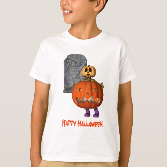 Pumpkin Man Tombstone Halloween Funny T-Shirt