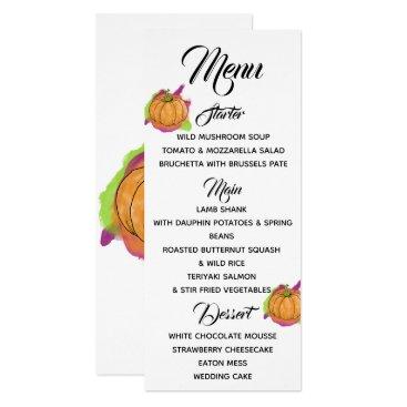 Halloween Themed Pumpkin Menu Card