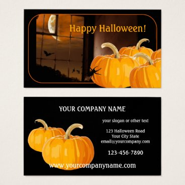 Professional Business Pumpkin Moon Halloween Business Card