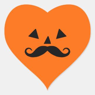 Pumpkin Moustache Heart Sticker