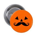 Pumpkin Moustache Pinback Buttons