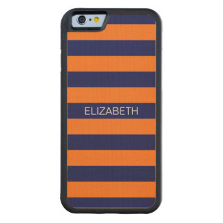 Pumpkin Navy Blue Horiz Preppy Stripe Monogram Carved Maple iPhone 6 Bumper Case