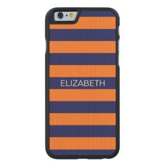 Pumpkin Navy Blue Horiz Preppy Stripe Monogram Carved Maple iPhone 6 Slim Case