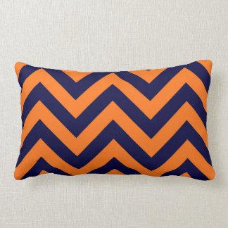 Pumpkin, Navy Blue Large Chevron ZigZag Pattern Lumbar Pillow