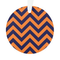 Pumpkin, Navy Blue Large Chevron ZigZag Pattern Ornament