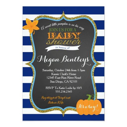 Pumpkin Navy Boy Baby Shower Invitation