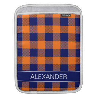 Pumpkin Navy Buffalo Check Plaid Name Monogram Sleeve For iPads