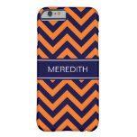 Pumpkin Navy LG Chevron Navy Blue Name Monogram Barely There iPhone 6 Case