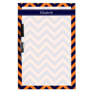 Pumpkin Navy LG Chevron Navy Blue Name Monogram Dry-Erase Whiteboards
