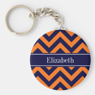 Pumpkin Navy LG Chevron Navy Blue Name Monogram Keychain