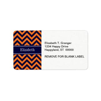 Pumpkin Navy LG Chevron Navy Blue Name Monogram Personalized Address Label