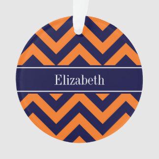 Pumpkin Navy LG Chevron Navy Blue Name Monogram Ornament