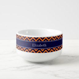 Pumpkin Navy LG Chevron Navy Blue Name Monogram Soup Mug