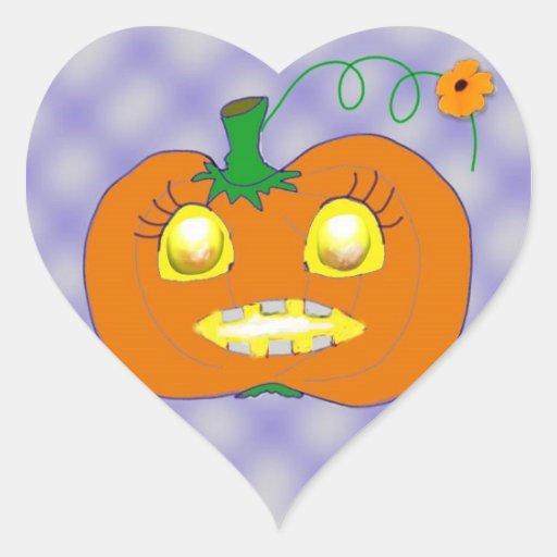 Pumpkin of love heart sticker