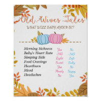 Pumpkin Old Wives Tales Gender Reveal Board Poster