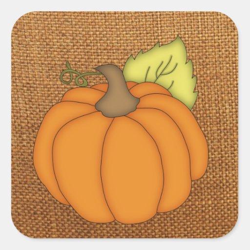 Pumpkin on Burlap Stickers