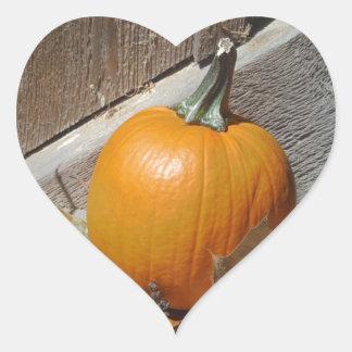 Pumpkin on Old Wooden Stairs Heart Sticker