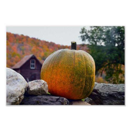 Pumpkin on Rock Wall in Vermont, Autumn Poster